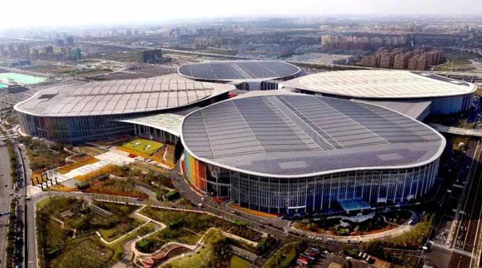 鸟瞰中国国际进口博览会会场全貌
