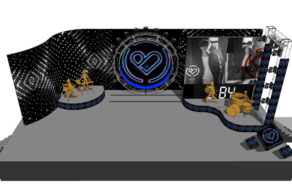 演唱会的舞台设计图也首度公开,此次舞美设计嘻哈酷炫,
